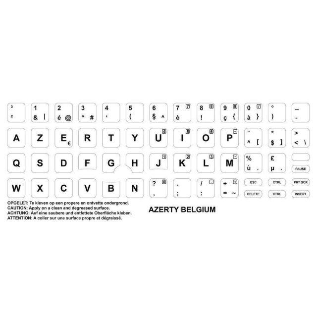 Axitech Notebook Keyboard Stickers Azerty Belgium White