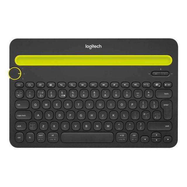 Logitech K480 Zwart, Geel Bluetooth QWERTY US International