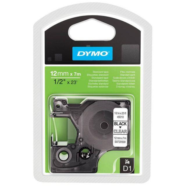 DYMO D1 Standard - Black on Transparent - 12mm labelprinter-tape Zwart op zilver