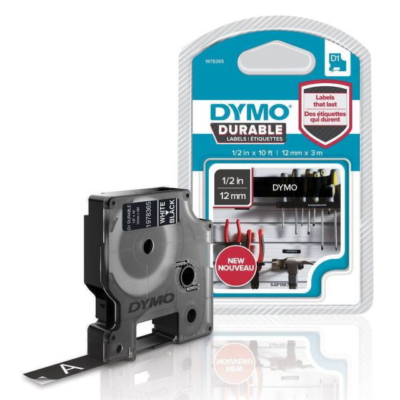 DYMO D1 Durable - White on Black - 12mm labelprinter-tape Wit op zwart