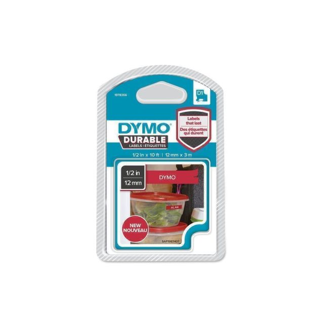 DYMO D1 Durable - White on Red - 12mm labelprinter-tape Wit op rood