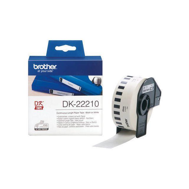 Brother DK-22210 labelprinter-tape Zwart op wit