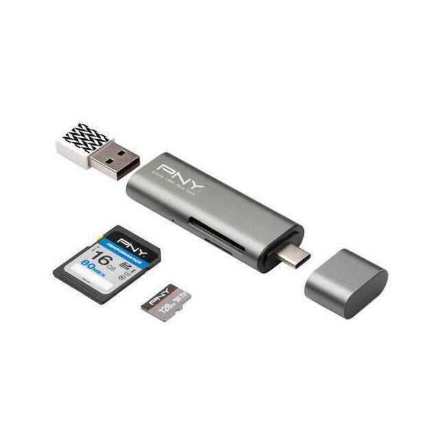 PNY R-TC-UA-3N1E01-RB geheugenkaartlezer USB 3.2 Gen 1 (3.1 Gen 1) Type-C Metallic