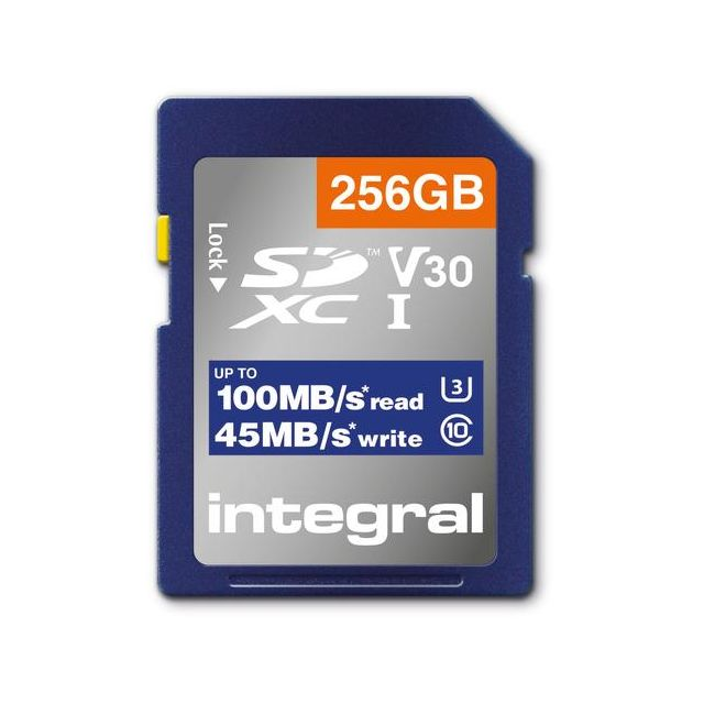 Integral INSDX256G-100V30 256GB SD CARD SDXC UHS-1 U3 CL10 V30 UP TO 100MBS READ 45MBS WRITE flashgeheugen UHS-I