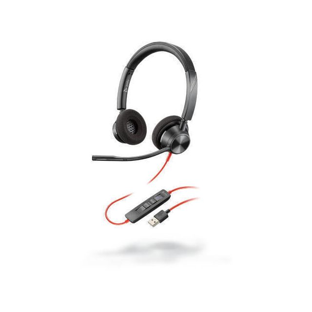 POLY Blackwire 3320 Headset Hoofdband USB Type-A Zwart, Rood