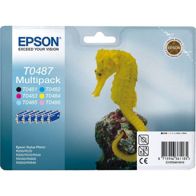 Epson Seahorse T0487 inktcartridge 1 stuk(s) Origineel Zwart, Cyaan, Lichtyaan, Lichtmagenta, Magenta, Geel