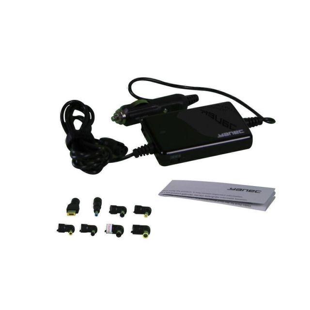 Yanec Universele Laptop Autoadapter 75W met 8 tips - Zwart