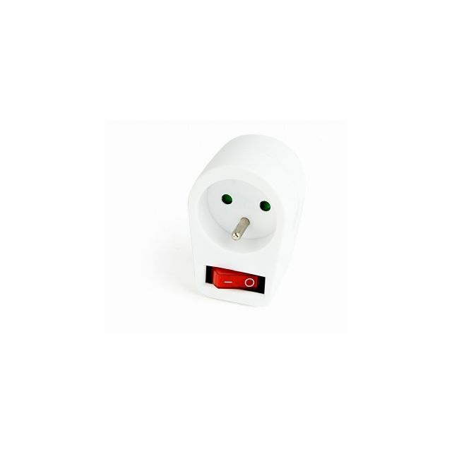 Switchable plug-in French AC socket, white