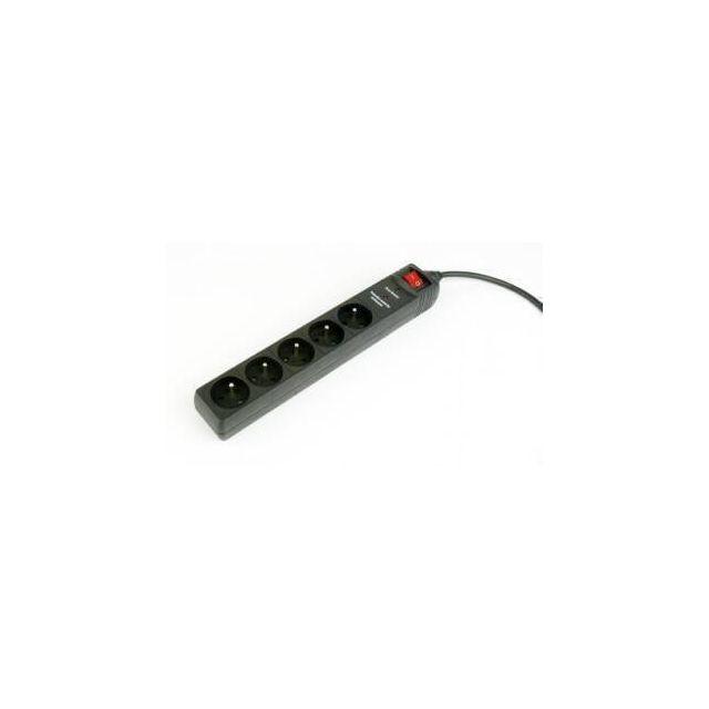 Stekkerdoos met schakelaar, 5 voudig, FR/BE, 1.5 meter, zwart