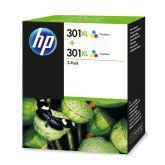 HP 301XL pack de 2 cartouches d'encre grande capacité trois couleurs authentiques