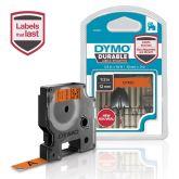 DYMO D1 Durable - White on Orange - 12mm labelprinter-tape Zwart op oranje